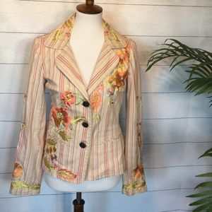 Johnny Was Striped Floral Embroidered Blazer